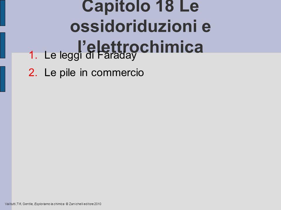 Capitolo 18 Le ossidoriduzioni e lelettrochimica 1.Le leggi di Faraday 2.Le pile in commercio Valitutti,Tifi, Gentile, Esploriamo la chimica © Zaniche