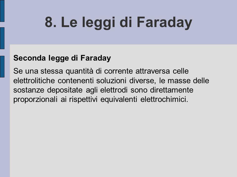8. Le leggi di Faraday Seconda legge di Faraday Se una stessa quantità di corrente attraversa celle elettrolitiche contenenti soluzioni diverse, le ma