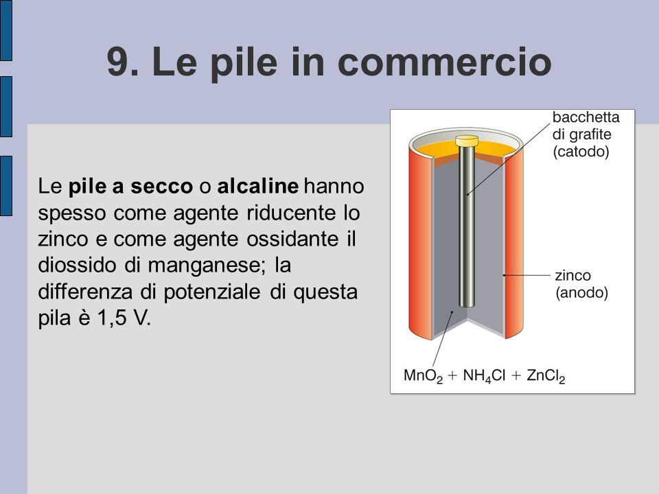 9. Le pile in commercio Le pile a secco o alcaline hanno spesso come agente riducente lo zinco e come agente ossidante il diossido di manganese; la di