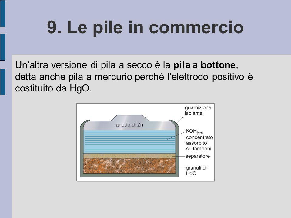 9. Le pile in commercio Unaltra versione di pila a secco è la pila a bottone, detta anche pila a mercurio perché lelettrodo positivo è costituito da H