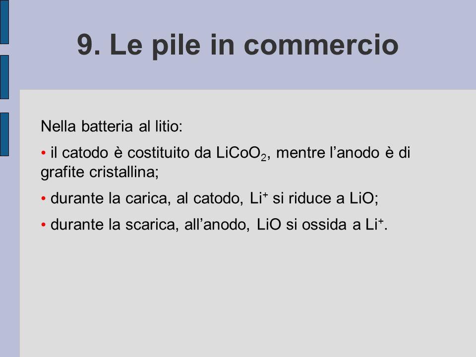 9. Le pile in commercio Nella batteria al litio: il catodo è costituito da LiCoO 2, mentre lanodo è di grafite cristallina; durante la carica, al cato