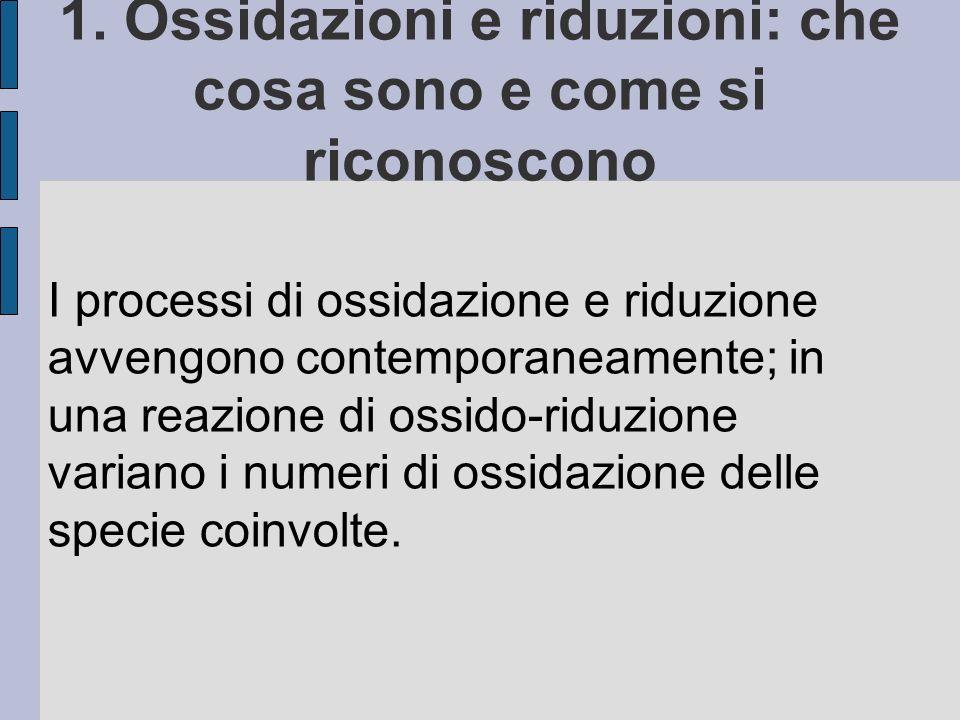 1. Ossidazioni e riduzioni: che cosa sono e come si riconoscono I processi di ossidazione e riduzione avvengono contemporaneamente; in una reazione di