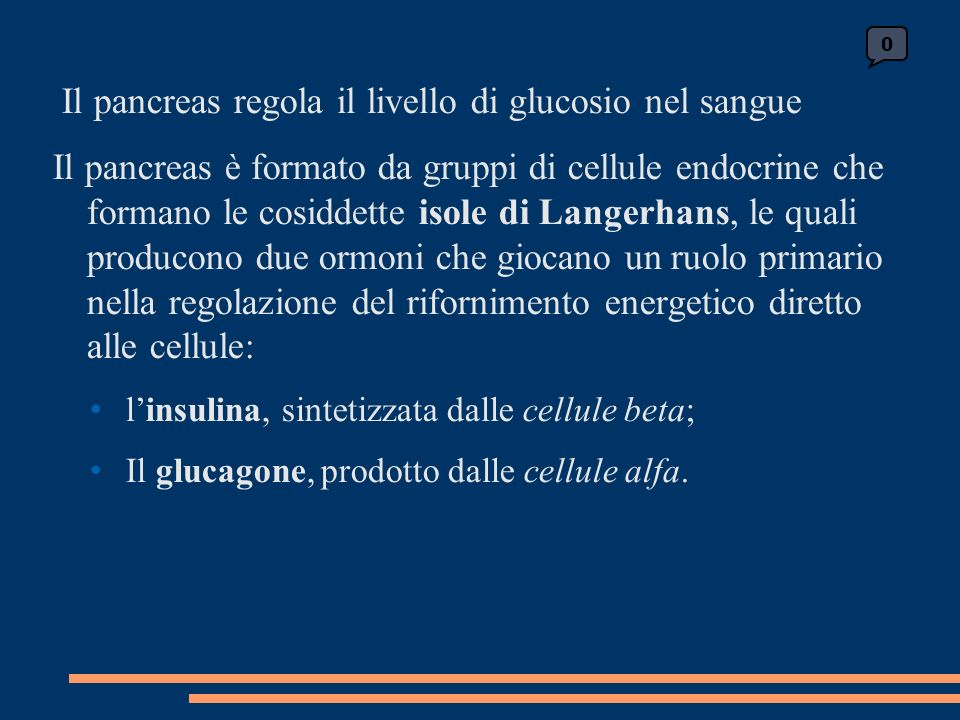 Il pancreas regola il livello di glucosio nel sangue Il pancreas è formato da gruppi di cellule endocrine che formano le cosiddette isole di Langerhans, le quali producono due ormoni che giocano un ruolo primario nella regolazione del rifornimento energetico diretto alle cellule: linsulina, sintetizzata dalle cellule beta; Il glucagone, prodotto dalle cellule alfa.