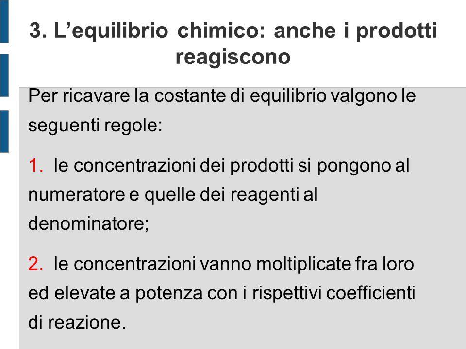 3. Lequilibrio chimico: anche i prodotti reagiscono Per ricavare la costante di equilibrio valgono le seguenti regole: 1. le concentrazioni dei prodot