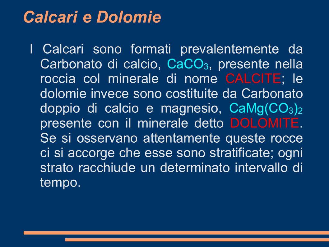 Calcari e Dolomie I Calcari sono formati prevalentemente da Carbonato di calcio, CaCO 3, presente nella roccia col minerale di nome CALCITE; le dolomi