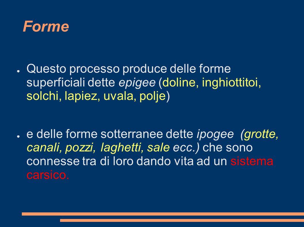 Forme Questo processo produce delle forme superficiali dette epigee (doline, inghiottitoi, solchi, lapiez, uvala, polje) e delle forme sotterranee det