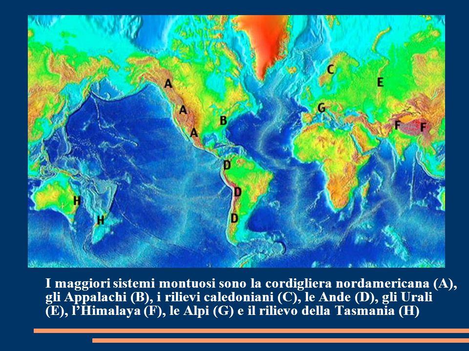 I maggiori sistemi montuosi sono la cordigliera nordamericana (A), gli Appalachi (B), i rilievi caledoniani (C), le Ande (D), gli Urali (E), lHimalaya