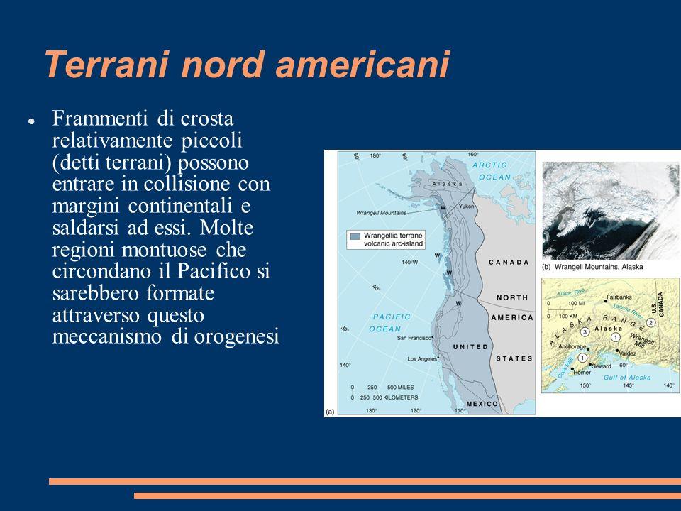 Terrani nord americani Frammenti di crosta relativamente piccoli (detti terrani) possono entrare in collisione con margini continentali e saldarsi ad