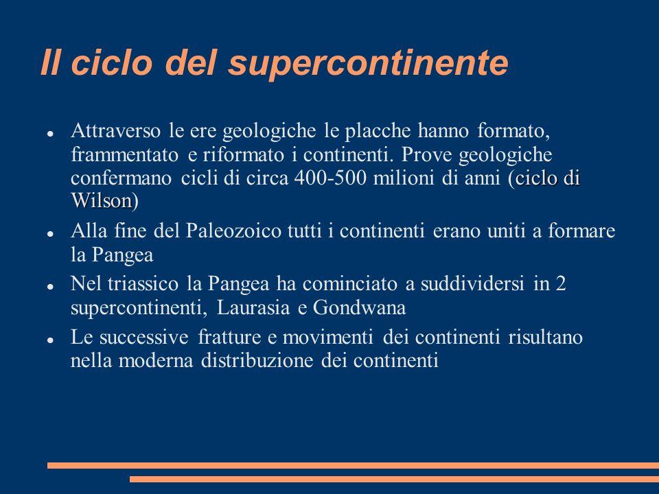 Il ciclo del supercontinente ciclo di Wilson Attraverso le ere geologiche le placche hanno formato, frammentato e riformato i continenti. Prove geolog