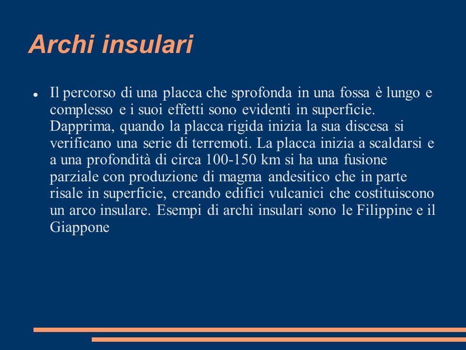 Archi insulari Il percorso di una placca che sprofonda in una fossa è lungo e complesso e i suoi effetti sono evidenti in superficie. Dapprima, quando