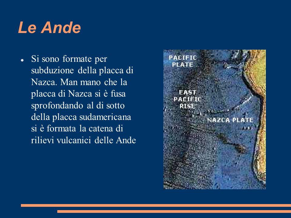 Le Ande Si sono formate per subduzione della placca di Nazca. Man mano che la placca di Nazca si è fusa sprofondando al di sotto della placca sudameri