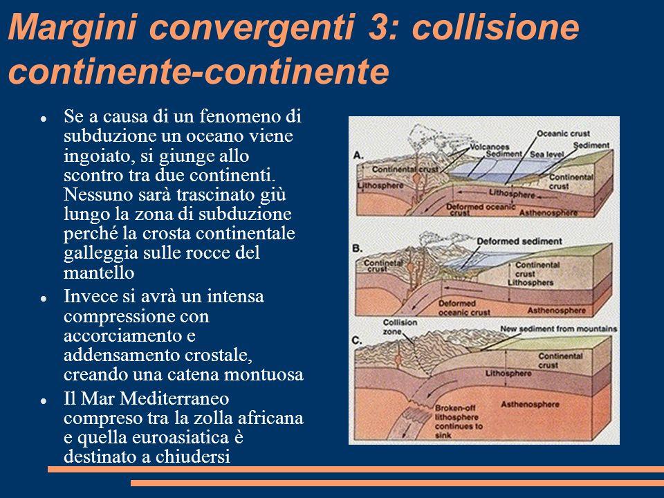 Margini convergenti 3: collisione continente-continente Se a causa di un fenomeno di subduzione un oceano viene ingoiato, si giunge allo scontro tra d