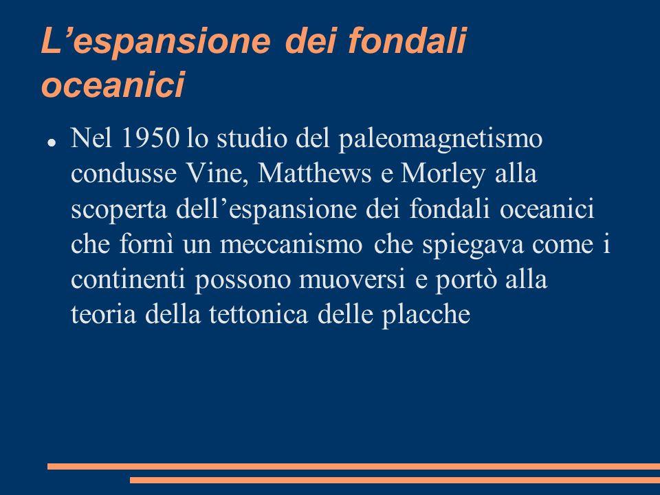 Lespansione dei fondali oceanici Nel 1950 lo studio del paleomagnetismo condusse Vine, Matthews e Morley alla scoperta dellespansione dei fondali ocea