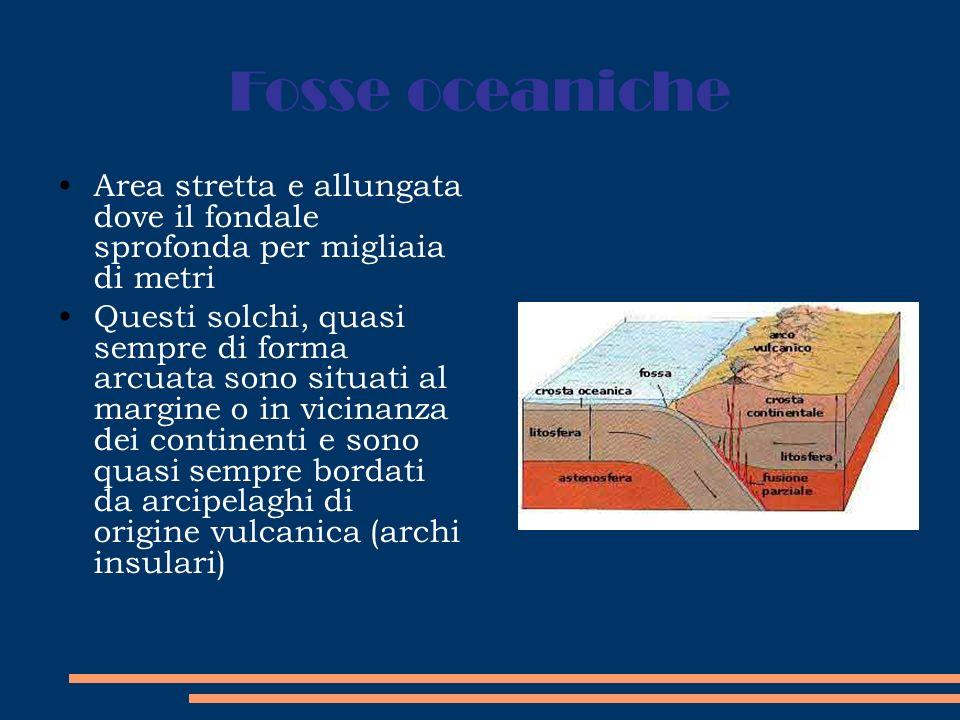 Fosse oceaniche Area stretta e allungata dove il fondale sprofonda per migliaia di metri Questi solchi, quasi sempre di forma arcuata sono situati al