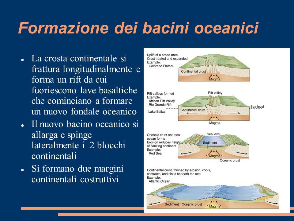Formazione dei bacini oceanici La crosta continentale si frattura longitudinalmente e forma un rift da cui fuoriescono lave basaltiche che cominciano