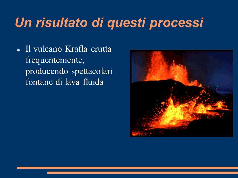 Un risultato di questi processi Il vulcano Krafla erutta frequentemente, producendo spettacolari fontane di lava fluida