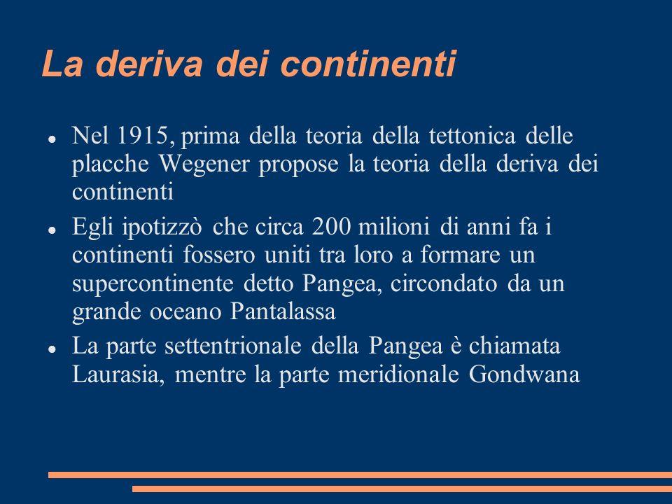 La deriva dei continenti Nel 1915, prima della teoria della tettonica delle placche Wegener propose la teoria della deriva dei continenti Egli ipotizz