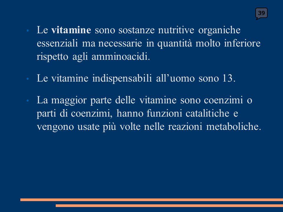Le vitamine sono sostanze nutritive organiche essenziali ma necessarie in quantità molto inferiore rispetto agli amminoacidi.
