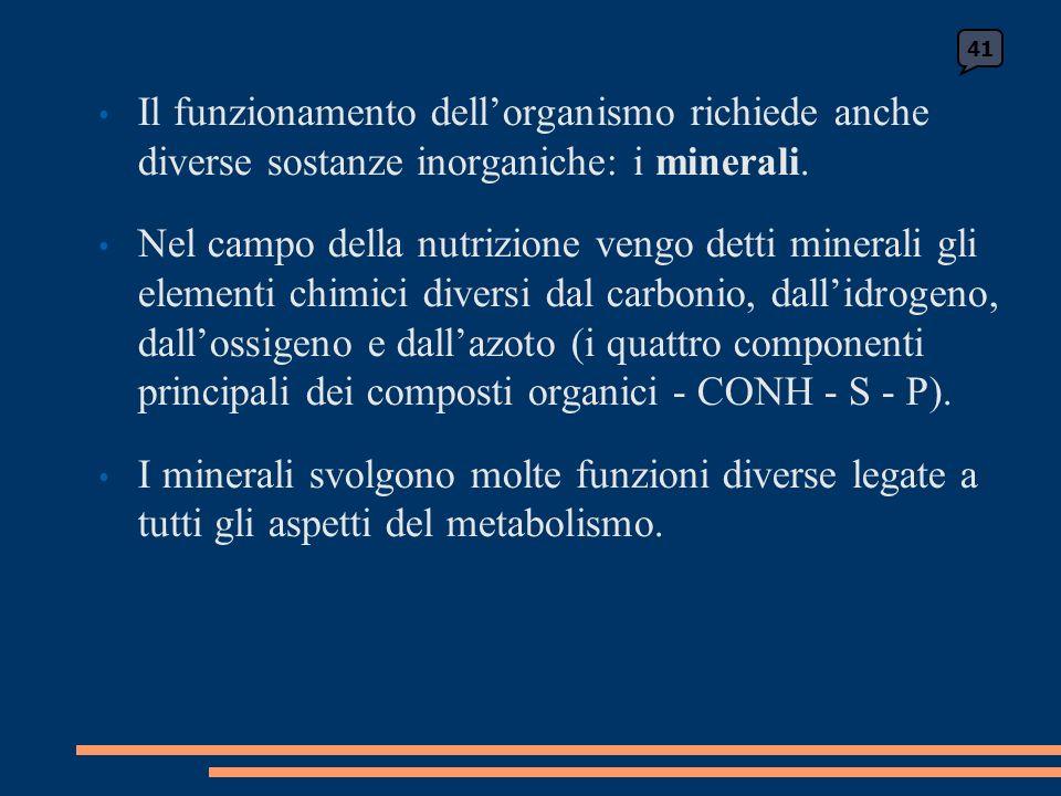 Il funzionamento dellorganismo richiede anche diverse sostanze inorganiche: i minerali.