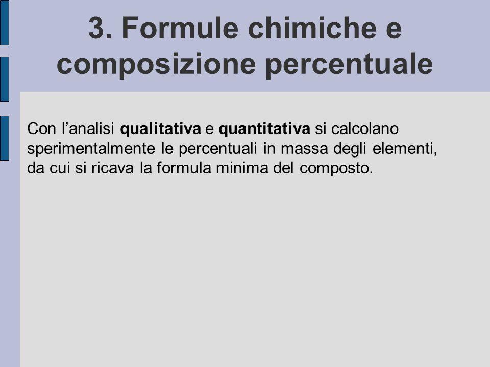 3. Formule chimiche e composizione percentuale Con lanalisi qualitativa e quantitativa si calcolano sperimentalmente le percentuali in massa degli ele