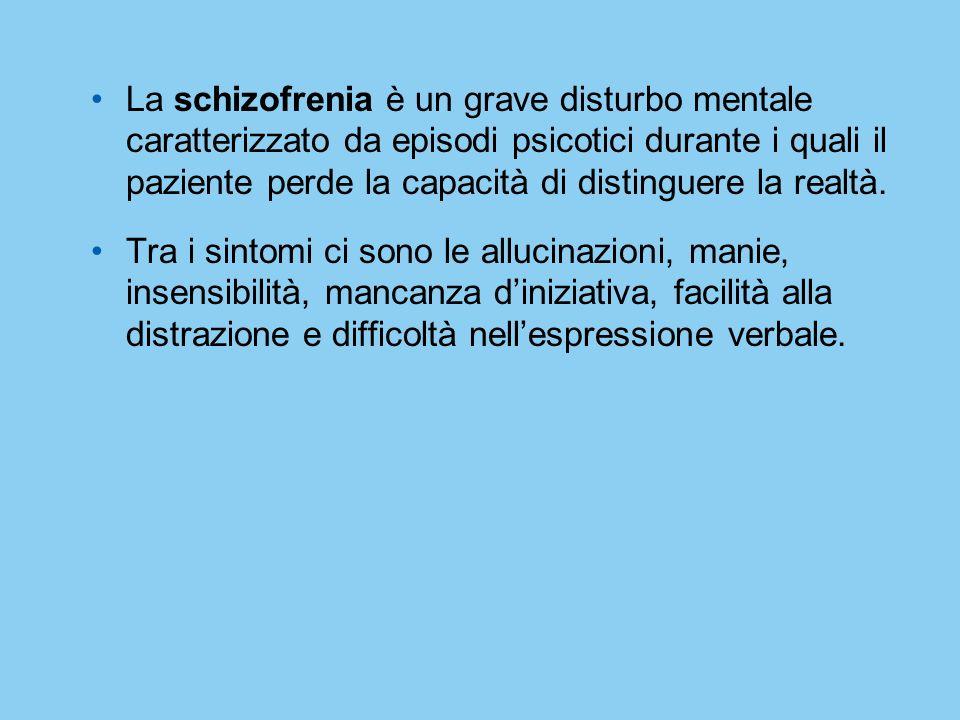 La schizofrenia è un grave disturbo mentale caratterizzato da episodi psicotici durante i quali il paziente perde la capacità di distinguere la realtà