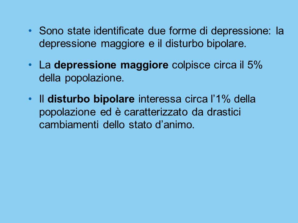 Sono state identificate due forme di depressione: la depressione maggiore e il disturbo bipolare. La depressione maggiore colpisce circa il 5% della p