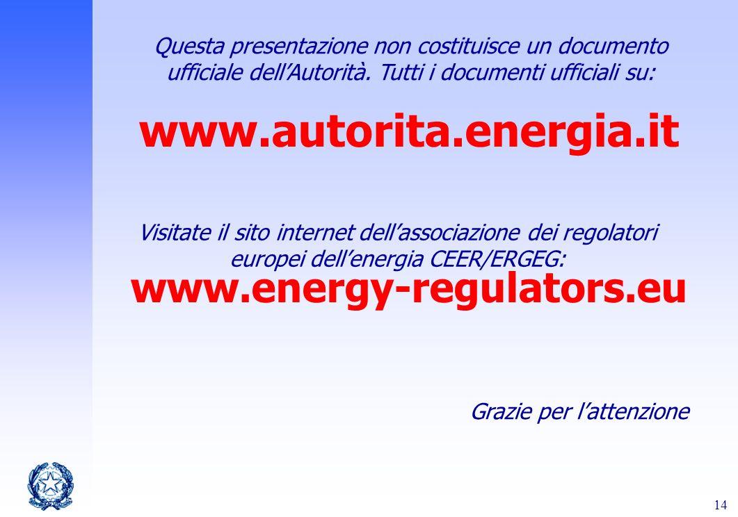 14 Grazie per lattenzione www.autorita.energia.it www.energy-regulators.eu Questa presentazione non costituisce un documento ufficiale dellAutorità. T