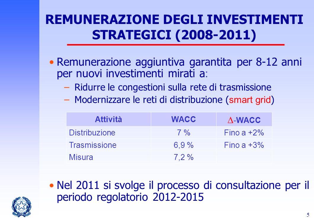 5 Remunerazione aggiuntiva garantita per 8-12 anni per nuovi investimenti mirati a : –Ridurre le congestioni sulla rete di trasmissione –Modernizzare