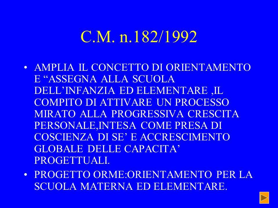 C.M. n.182/1992 AMPLIA IL CONCETTO DI ORIENTAMENTO E ASSEGNA ALLA SCUOLA DELLINFANZIA ED ELEMENTARE,IL COMPITO DI ATTIVARE UN PROCESSO MIRATO ALLA PRO