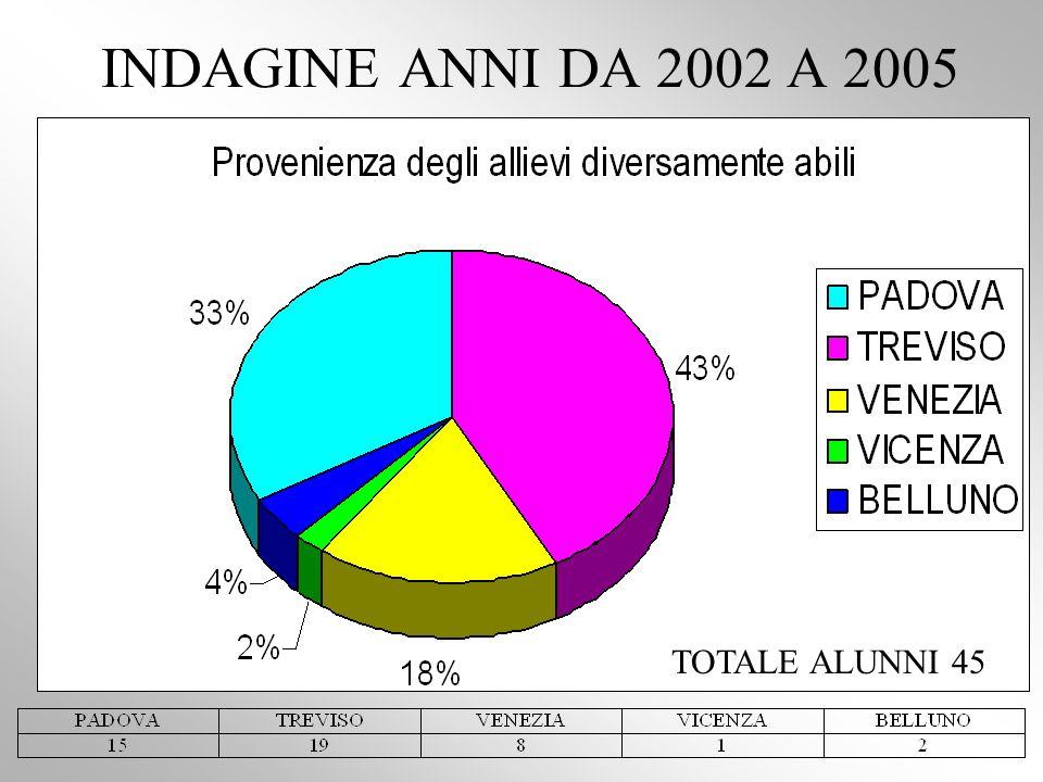 INDAGINE ANNI DA 2002 A 2005 TOTALE ALUNNI 45