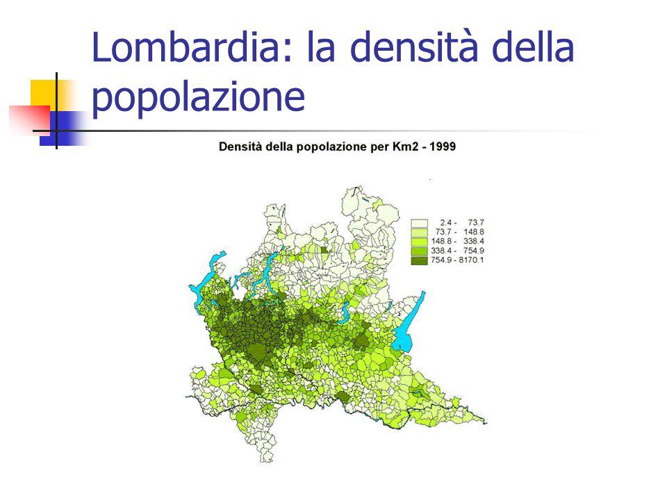 Lombardia: la densità della popolazione