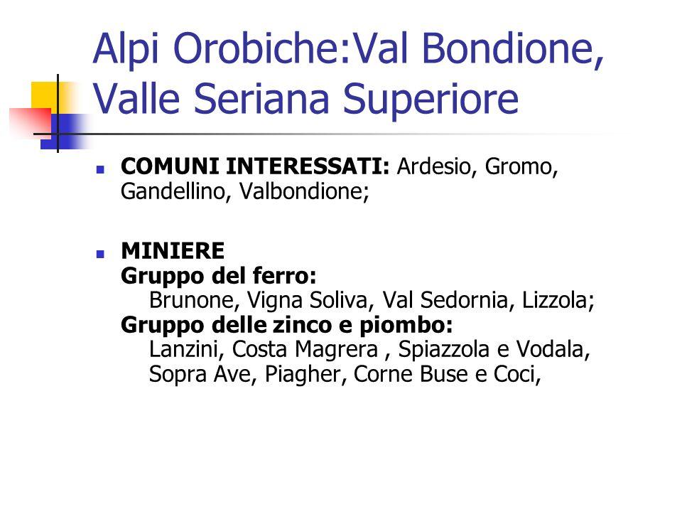 COMUNI INTERESSATI: Ardesio, Gromo, Gandellino, Valbondione; MINIERE Gruppo del ferro: Brunone, Vigna Soliva, Val Sedornia, Lizzola; Gruppo delle zinc