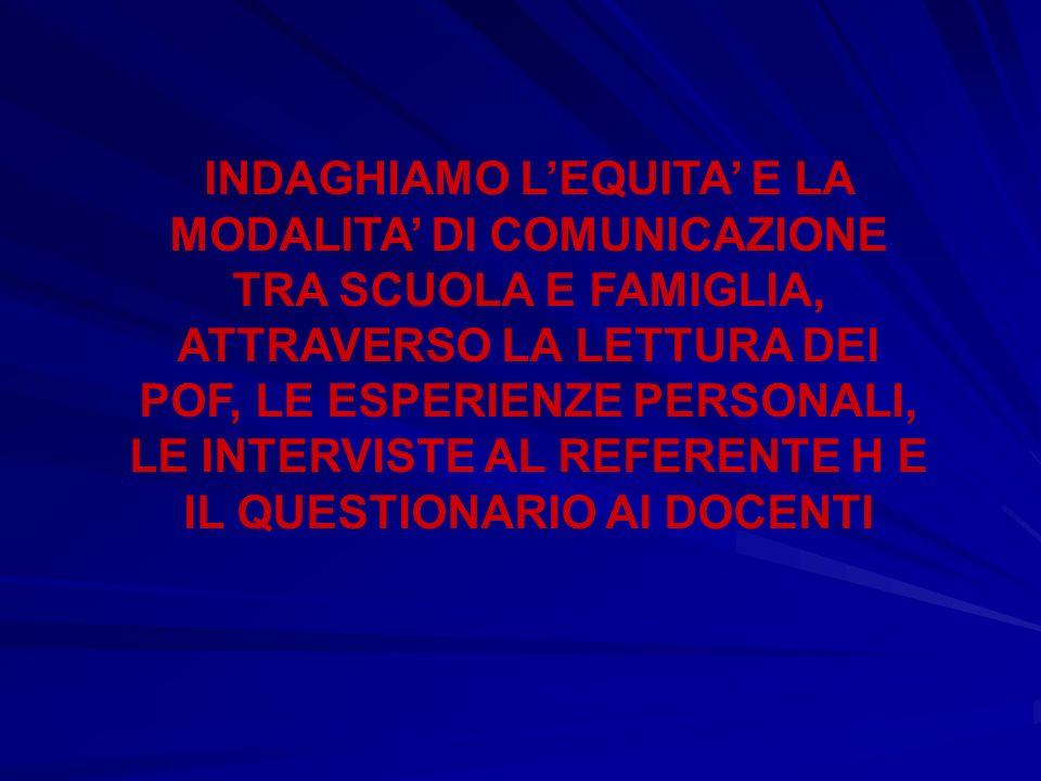 INDAGHIAMO LEQUITA E LA MODALITA DI COMUNICAZIONE TRA SCUOLA E FAMIGLIA, ATTRAVERSO LA LETTURA DEI POF, LE ESPERIENZE PERSONALI, LE INTERVISTE AL REFERENTE H E IL QUESTIONARIO AI DOCENTI