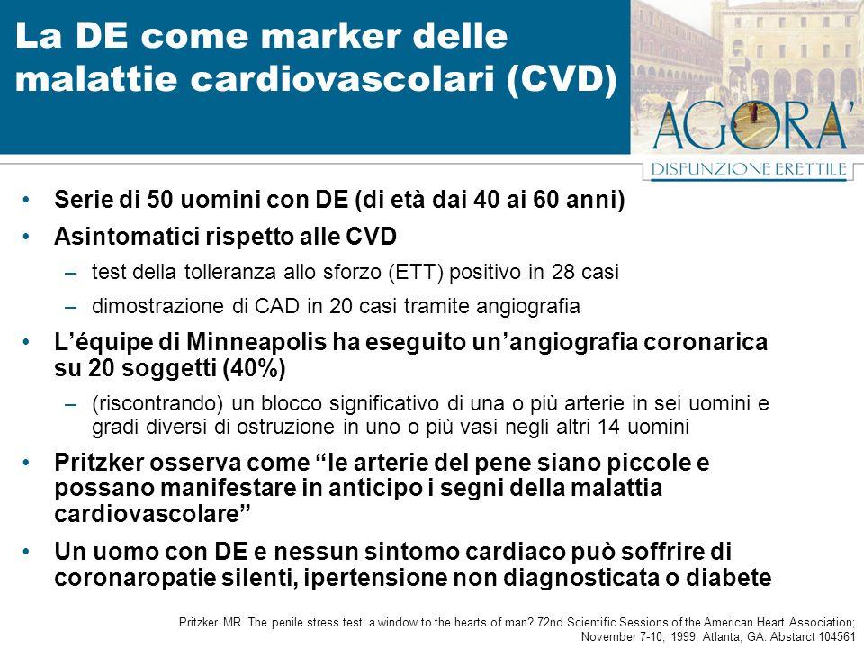 La DE come marker delle malattie cardiovascolari (CVD) Serie di 50 uomini con DE (di età dai 40 ai 60 anni) Asintomatici rispetto alle CVD –test della