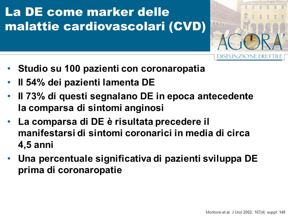 La DE come marker delle malattie cardiovascolari (CVD) Studio su 100 pazienti con coronaropatia Il 54% dei pazienti lamenta DE Il 73% di questi segnal