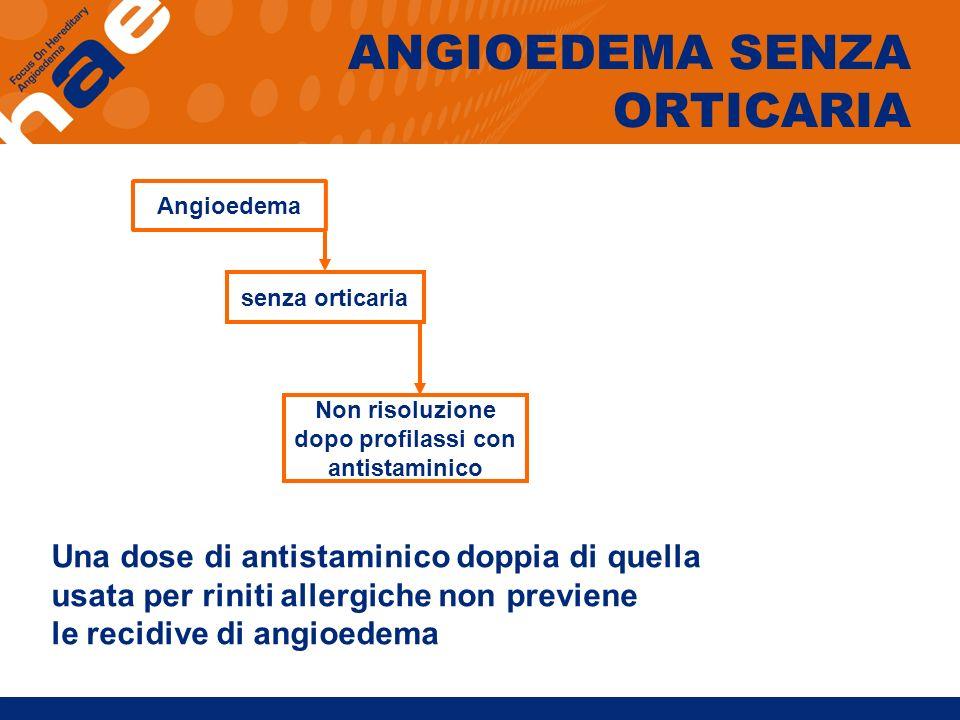 Angioedema senza orticaria Non risoluzione dopo profilassi con antistaminico ANGIOEDEMA SENZA ORTICARIA Una dose di antistaminico doppia di quella usa
