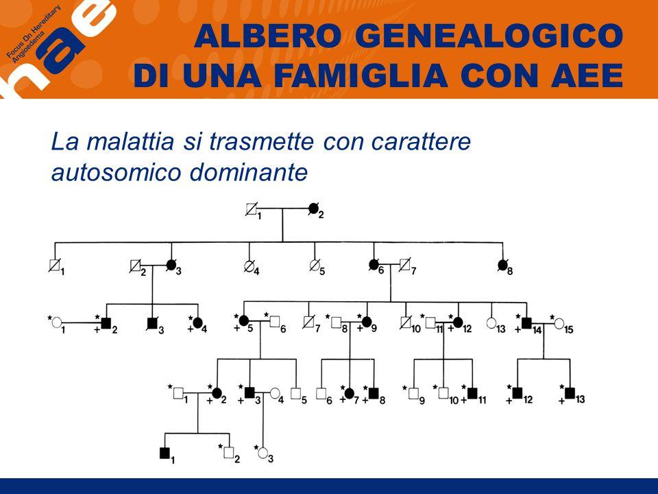 La malattia si trasmette con carattere autosomico dominante ALBERO GENEALOGICO DI UNA FAMIGLIA CON AEE