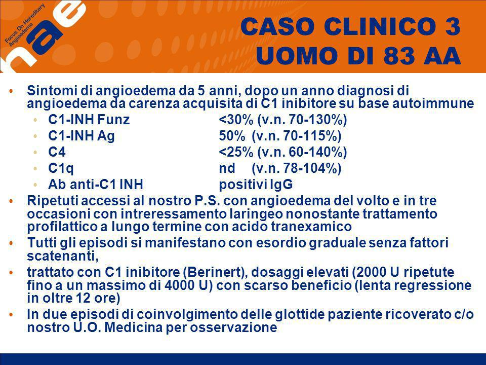 CASO CLINICO 3 UOMO DI 83 AA Sintomi di angioedema da 5 anni, dopo un anno diagnosi di angioedema da carenza acquisita di C1 inibitore su base autoimm