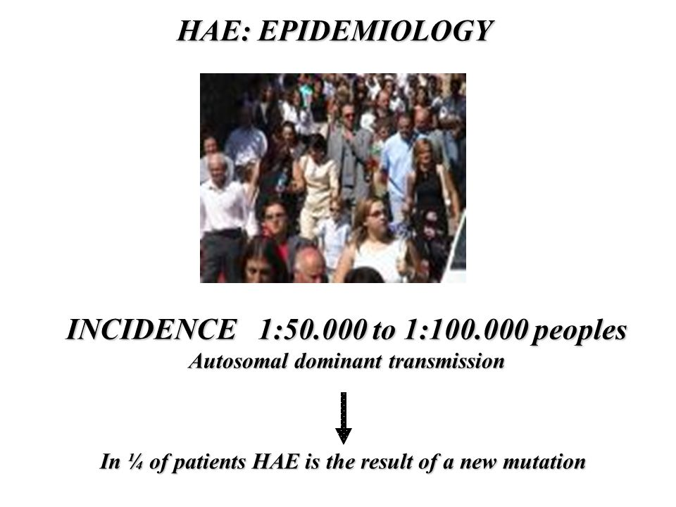 HAE: EPIDEMIOLOGY INCIDENCE 1:50.000 to 1:100.000 peoples Autosomal dominant transmission In ¼ of patients HAE is the result of a new mutation