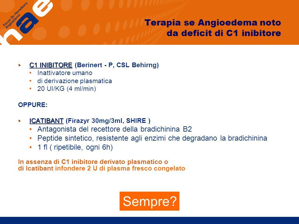 Terapia se Angioedema noto da deficit di C1 inibitore C1 INIBITORE C1 INIBITORE (Berinert - P, CSL Behirng) Inattivatore umano di derivazione plasmati