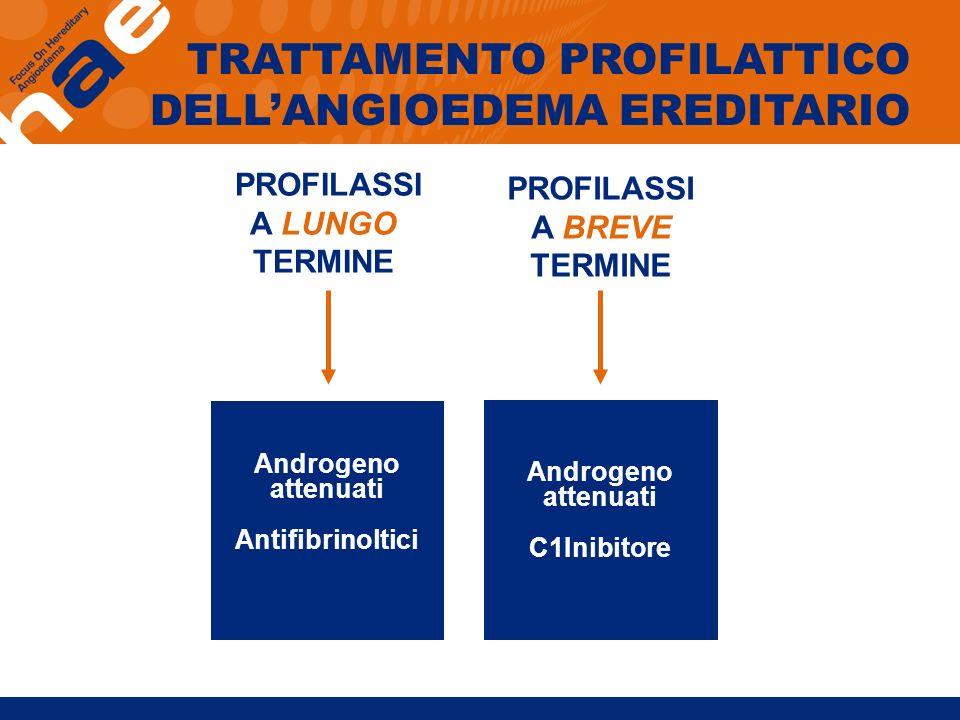 PROFILASSI A LUNGO TERMINE PROFILASSI A BREVE TERMINE Androgeno attenuati Antifibrinoltici Androgeno attenuati C1Inibitore TRATTAMENTO PROFILATTICO DE