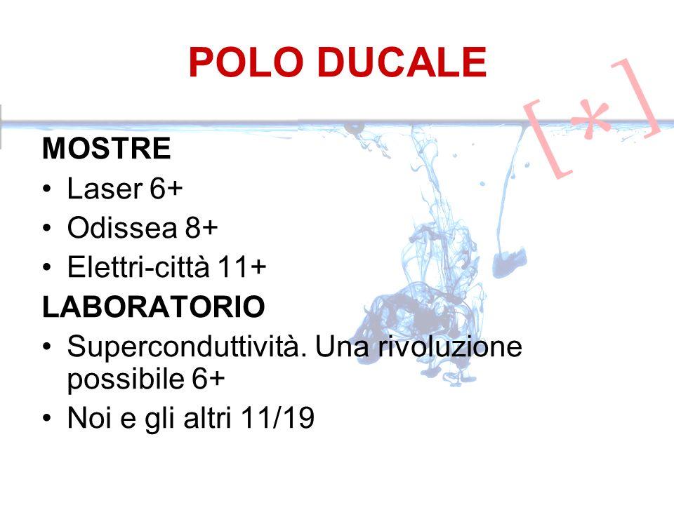 POLO DUCALE MOSTRE Laser 6+ Odissea 8+ Elettri-città 11+ LABORATORIO Superconduttività. Una rivoluzione possibile 6+ Noi e gli altri 11/19