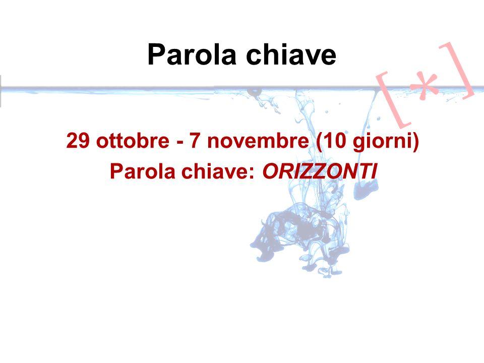 Parola chiave 29 ottobre - 7 novembre (10 giorni) Parola chiave: ORIZZONTI