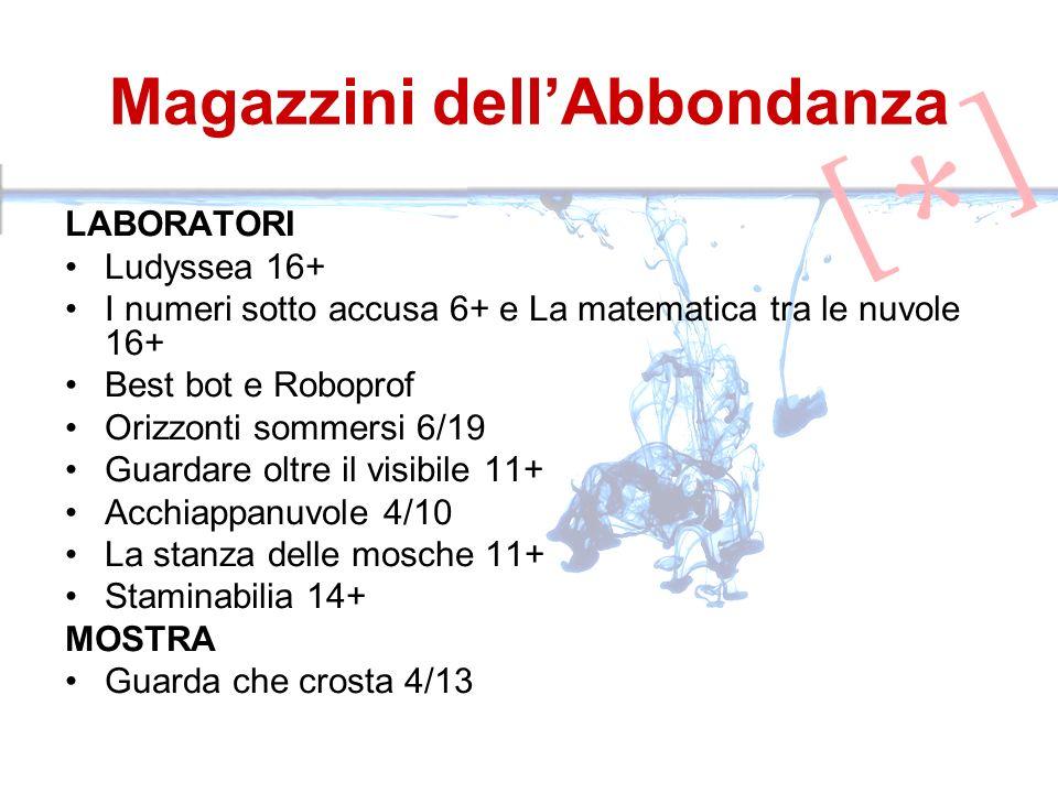Magazzini dellAbbondanza LABORATORI Ludyssea 16+ I numeri sotto accusa 6+ e La matematica tra le nuvole 16+ Best bot e Roboprof Orizzonti sommersi 6/1