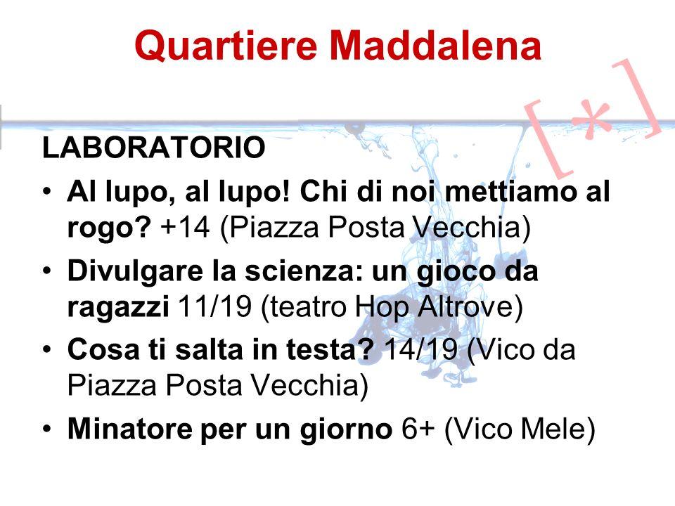 Quartiere Maddalena LABORATORIO Al lupo, al lupo! Chi di noi mettiamo al rogo? +14 (Piazza Posta Vecchia) Divulgare la scienza: un gioco da ragazzi 11