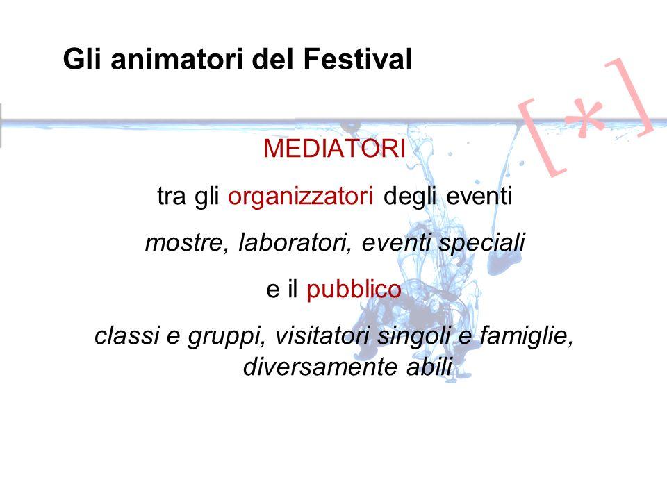 MEDIATORI tra gli organizzatori degli eventi mostre, laboratori, eventi speciali e il pubblico classi e gruppi, visitatori singoli e famiglie, diversamente abili Gli animatori del Festival