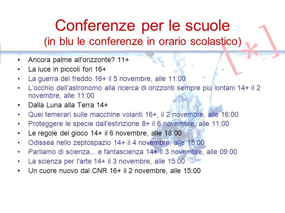 Conferenze per le scuole (in blu le conferenze in orario scolastico) Ancora palme all'orizzonte? 11+ La luce in piccoli fori 16+ La guerra del freddo