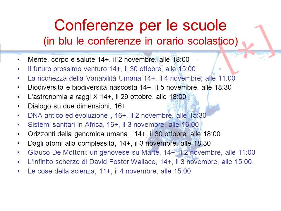 Conferenze per le scuole (in blu le conferenze in orario scolastico) Mente, corpo e salute 14+, il 2 novembre, alle 18:00 Il futuro prossimo venturo 14+, il 30 ottobre, alle 15:00 La ricchezza della Variabilità Umana 14+, il 4 novembre, alle 11:00 Biodiversità e biodiversità nascosta 14+, il 5 novembre, alle 18:30 L astronomia a raggi X 14+, il 29 ottobre, alle 18:00 Dialogo su due dimensioni, 16+ DNA antico ed evoluzione, 16+, il 2 novembre, alle 15:30 Sistemi sanitari in Africa, 16+, il 3 novembre, alle 16:00 Orizzonti della genomica umana, 14+, il 30 ottobre, alle 18:00 Dagli atomi alla complessità, 14+, il 3 novembre, alle 18:30 Glauco De Mottoni: un genovese su Marte, 14+, il 2 novembre, alle 11:00 L infinito scherzo di David Foster Wallace, 14+, il 3 novembre, alle 15:00 Le cose della scienza, 11+, il 4 novembre, alle 15:00