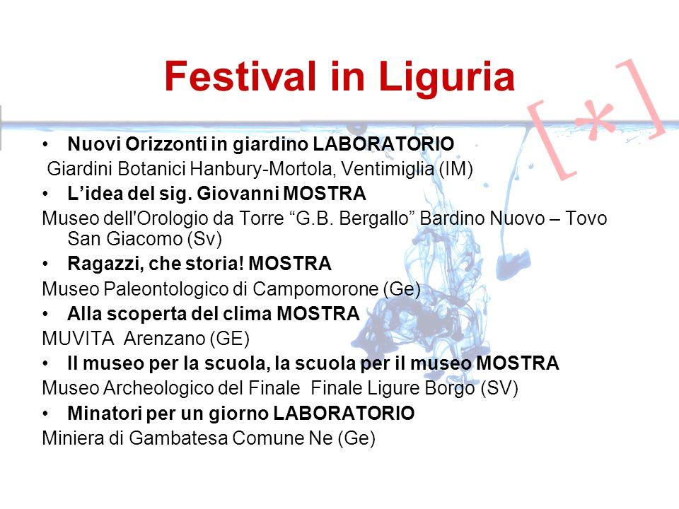 Festival in Liguria Nuovi Orizzonti in giardino LABORATORIO Giardini Botanici Hanbury-Mortola, Ventimiglia (IM) Lidea del sig. Giovanni MOSTRA Museo d