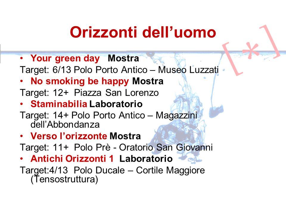 Your green day Mostra Target: 6/13 Polo Porto Antico – Museo Luzzati No smoking be happy Mostra Target: 12+ Piazza San Lorenzo Staminabilia Laboratori